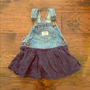 OskKosh Overalls Blue Eyelet Skirt Size 18 months